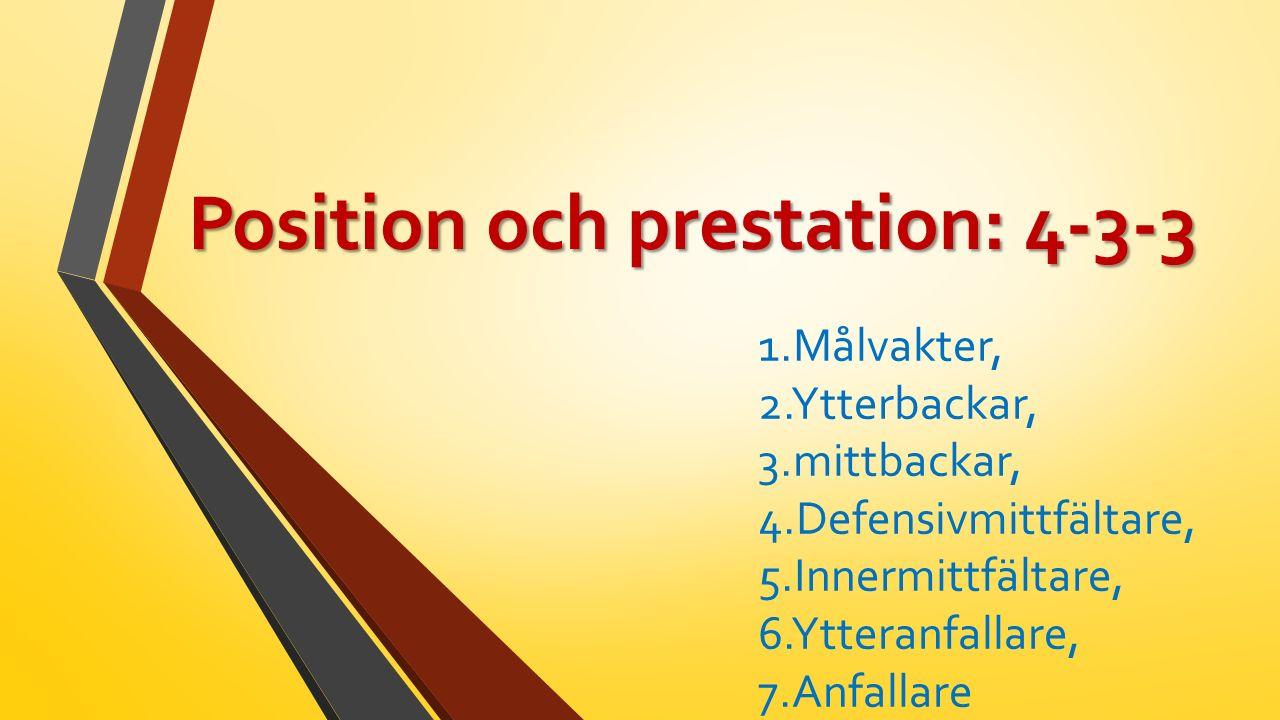 Position och prestation: 4-3-3 1.Målvakter, 2.Ytterbackar, 3.mittbackar, 4.Defensivmittfältare, 5.Innermittfältare, 6.Ytteranfallare, 7.Anfallare