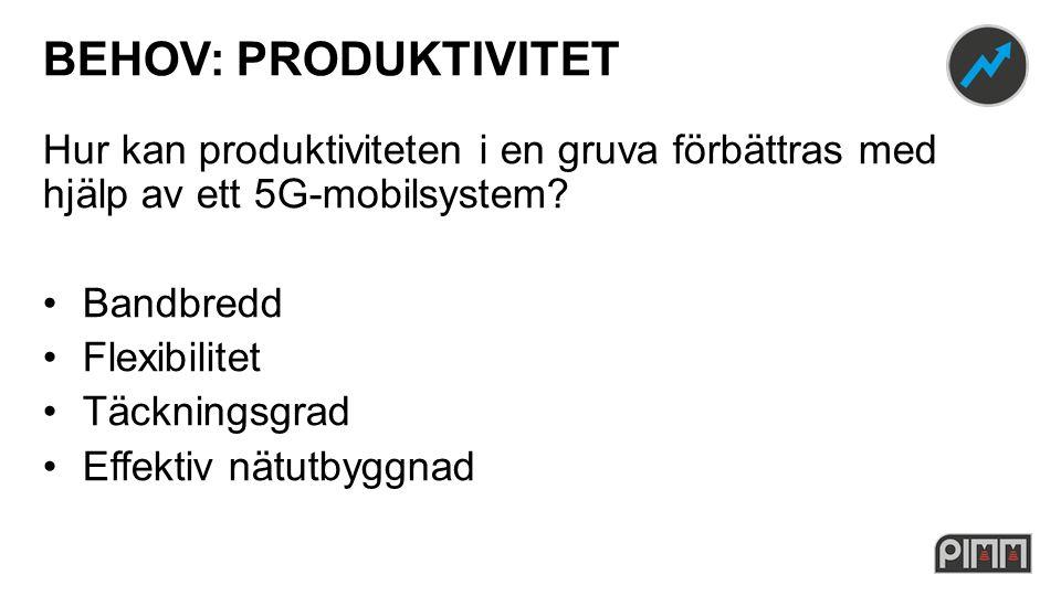 BEHOV: PRODUKTIVITET Hur kan produktiviteten i en gruva förbättras med hjälp av ett 5G-mobilsystem.