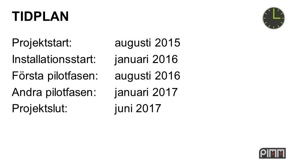 TIDPLAN Projektstart: augusti 2015 Installationsstart:januari 2016 Första pilotfasen:augusti 2016 Andra pilotfasen:januari 2017 Projektslut: juni 2017
