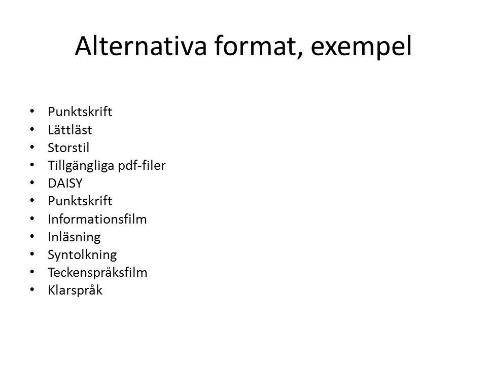 Alternativa format, exempel Punktskrift Lättläst Storstil Tillgängliga pdf-filer DAISY Punktskrift Informationsfilm Inläsning Syntolkning Teckenspråksfilm Klarspråk