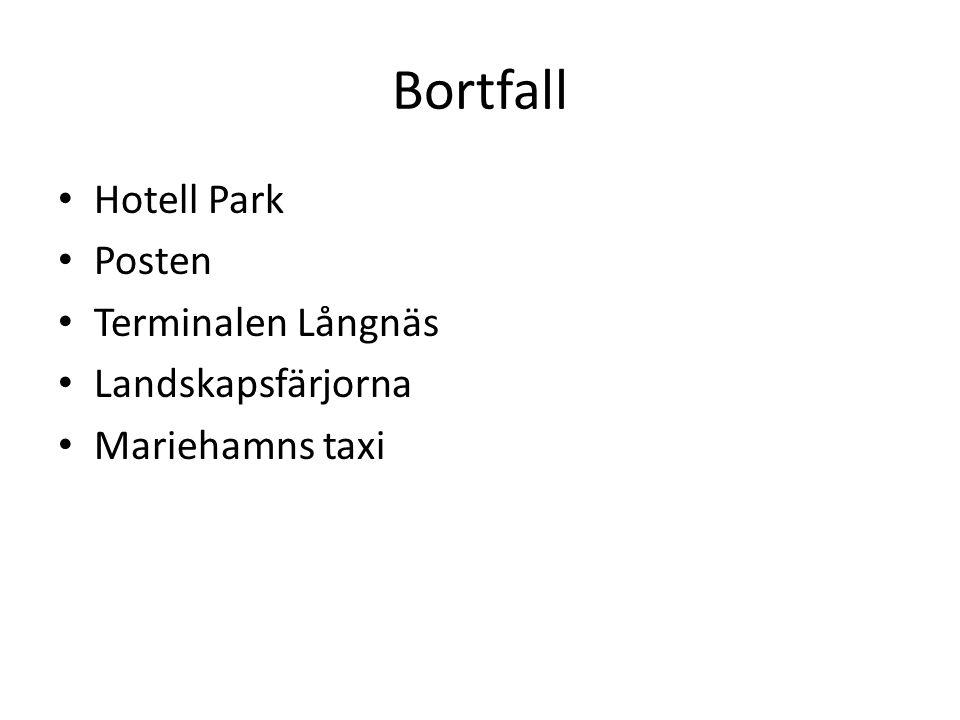 Bortfall Hotell Park Posten Terminalen Långnäs Landskapsfärjorna Mariehamns taxi