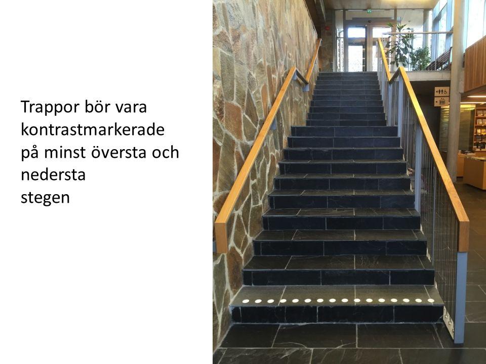 Trappor bör vara kontrastmarkerade på minst översta och nedersta stegen