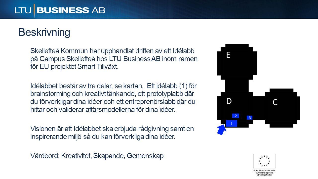 Beskrivning Skellefteå Kommun har upphandlat driften av ett Idélabb på Campus Skellefteå hos LTU Business AB inom ramen för EU projektet Smart Tillväx