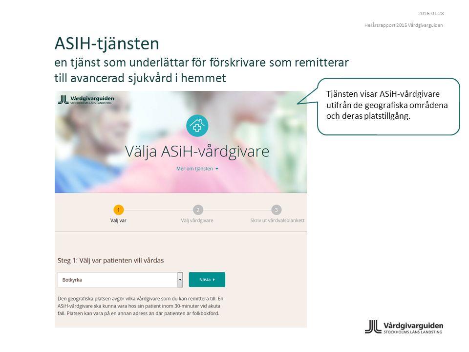 ASIH-tjänsten en tjänst som underlättar för förskrivare som remitterar till avancerad sjukvård i hemmet Tjänsten visar ASiH-vårdgivare utifrån de geografiska områdena och deras platstillgång.