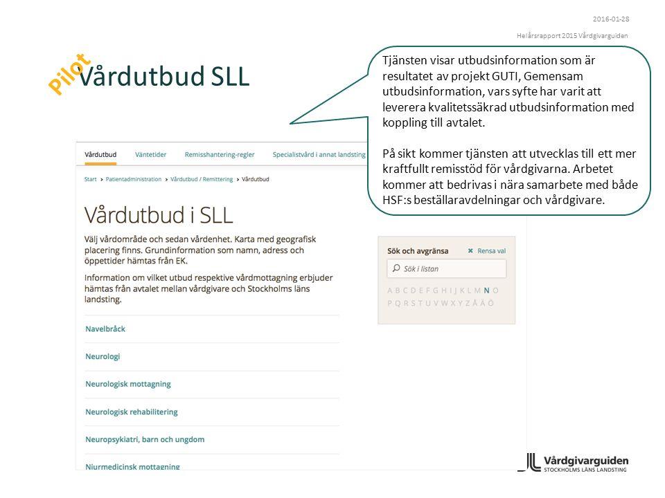 Vårdutbud SLL Pilot Tjänsten visar utbudsinformation som är resultatet av projekt GUTI, Gemensam utbudsinformation, vars syfte har varit att leverera kvalitetssäkrad utbudsinformation med koppling till avtalet.