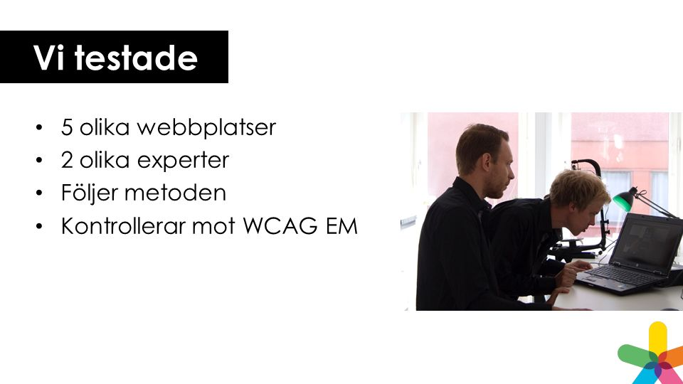 Vi testade 5 olika webbplatser 2 olika experter Följer metoden Kontrollerar mot WCAG EM