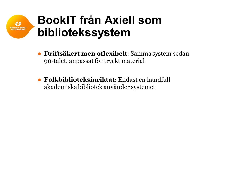 BookIT från Axiell som bibliotekssystem ● Driftsäkert men oflexibelt: Samma system sedan 90-talet, anpassat för tryckt material ● Folkbiblioteksinriktat: Endast en handfull akademiska bibliotek använder systemet