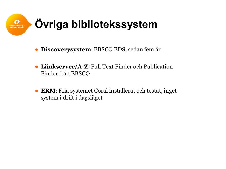 Övriga bibliotekssystem ● Discoverysystem: EBSCO EDS, sedan fem år ● Länkserver/A-Z: Full Text Finder och Publication Finder från EBSCO ● ERM: Fria systemet Coral installerat och testat, inget system i drift i dagsläget
