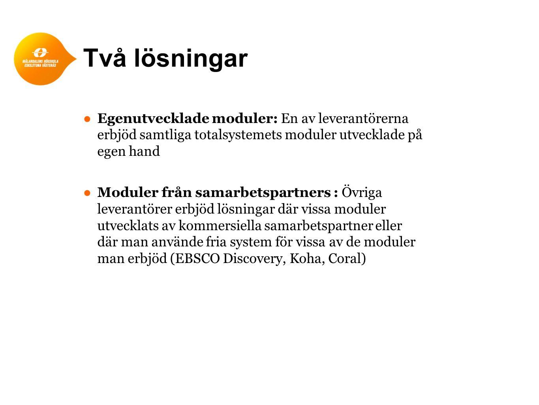 Två lösningar ● Egenutvecklade moduler: En av leverantörerna erbjöd samtliga totalsystemets moduler utvecklade på egen hand ● Moduler från samarbetspartners : Övriga leverantörer erbjöd lösningar där vissa moduler utvecklats av kommersiella samarbetspartner eller där man använde fria system för vissa av de moduler man erbjöd (EBSCO Discovery, Koha, Coral)