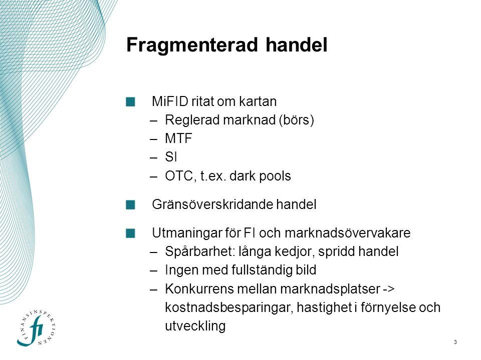 3 Fragmenterad handel MiFID ritat om kartan –Reglerad marknad (börs) –MTF –SI –OTC, t.ex.
