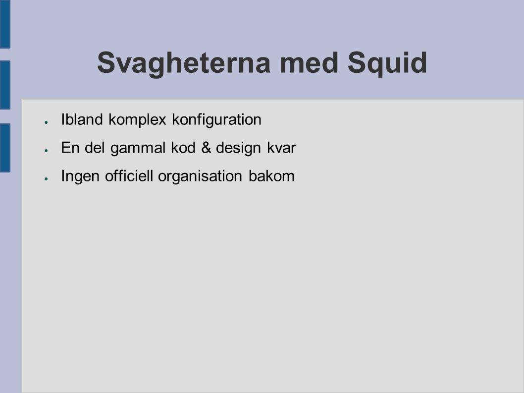 Svagheterna med Squid ● Ibland komplex konfiguration ● En del gammal kod & design kvar ● Ingen officiell organisation bakom