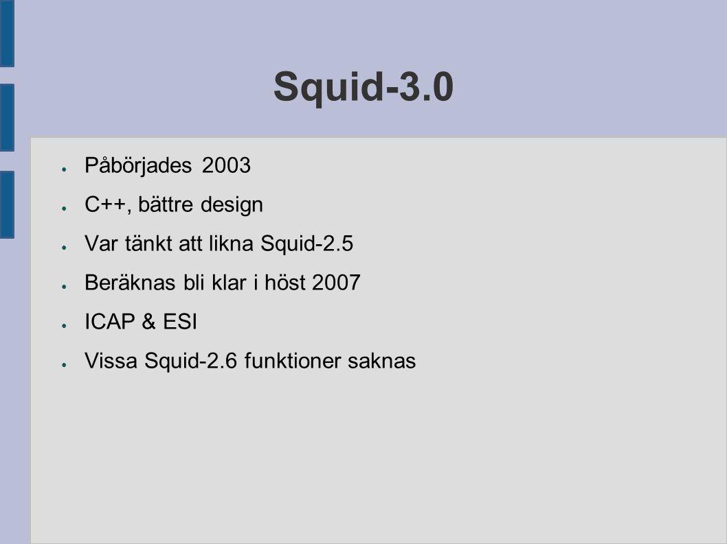 Squid-3.0 ● Påbörjades 2003 ● C++, bättre design ● Var tänkt att likna Squid-2.5 ● Beräknas bli klar i höst 2007 ● ICAP & ESI ● Vissa Squid-2.6 funktioner saknas