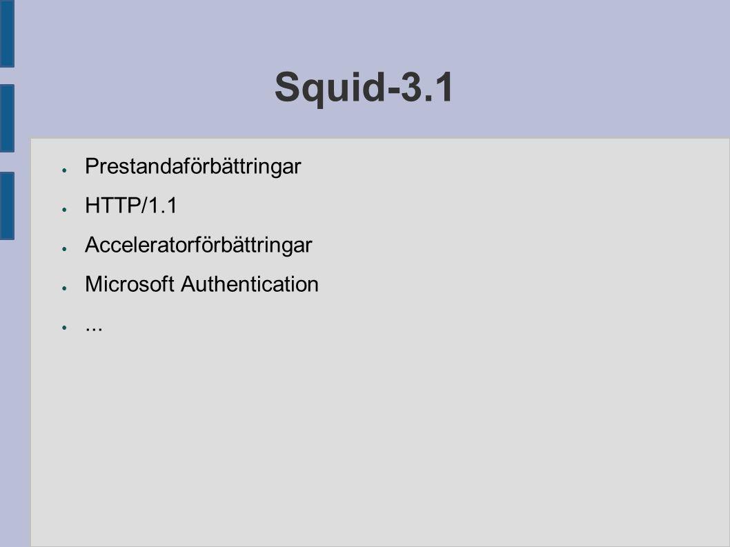 Squid-3.1 ● Prestandaförbättringar ● HTTP/1.1 ● Acceleratorförbättringar ● Microsoft Authentication ●...