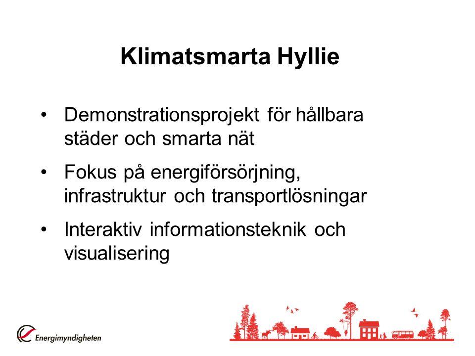 Klimatsmarta Hyllie Demonstrationsprojekt för hållbara städer och smarta nät Fokus på energiförsörjning, infrastruktur och transportlösningar Interaktiv informationsteknik och visualisering