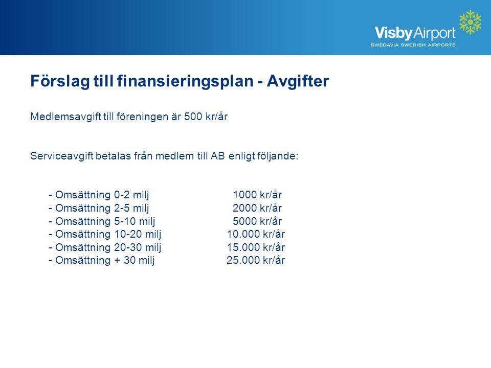 Medlemsavgift till föreningen är 500 kr/år Serviceavgift betalas från medlem till AB enligt följande: - Omsättning 0-2 milj 1000 kr/år - Omsättning 2-5 milj 2000 kr/år - Omsättning 5-10 milj 5000 kr/år - Omsättning 10-20 milj 10.000 kr/år - Omsättning 20-30 milj15.000 kr/år - Omsättning + 30 milj25.000 kr/år Förslag till finansieringsplan - Avgifter