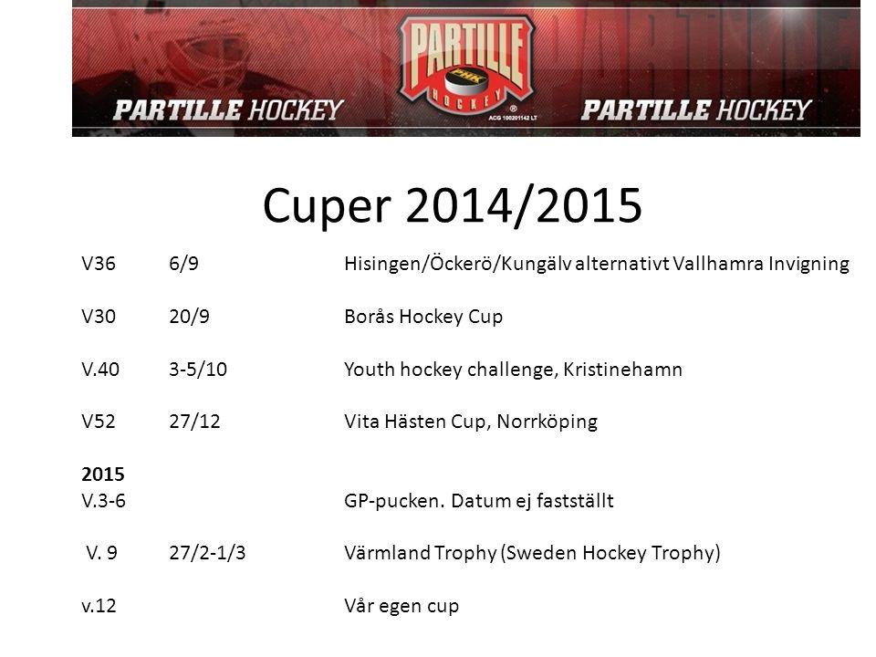 Cuper 2014/2015 V366/9 Hisingen/Öckerö/Kungälv alternativt Vallhamra Invigning V3020/9 Borås Hockey Cup V.403-5/10 Youth hockey challenge, Kristineham