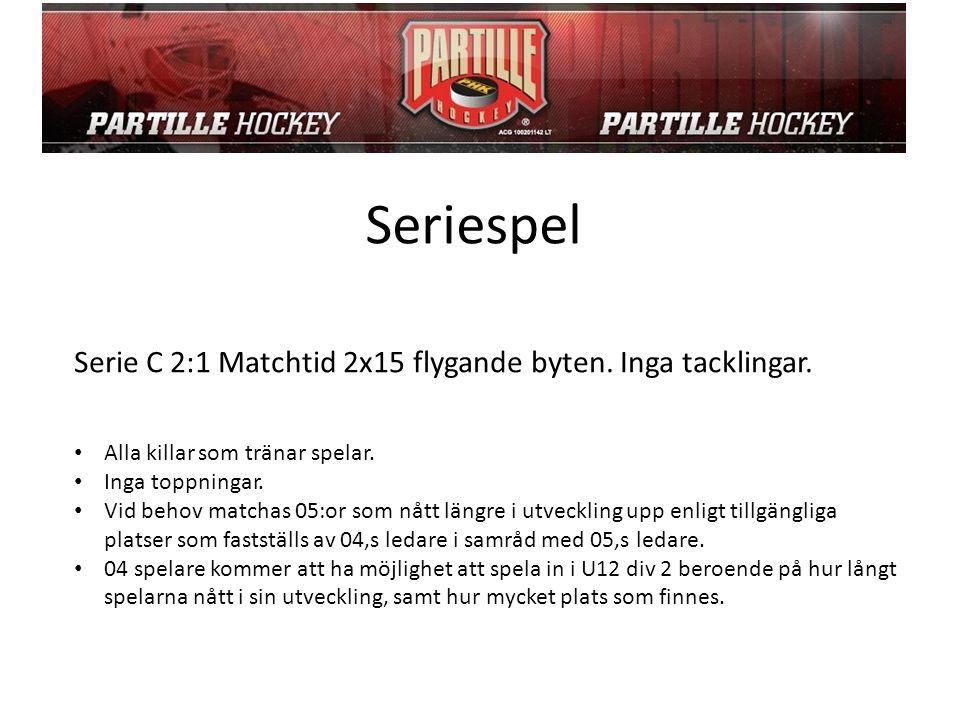 Seriespel Serie C 2:1 Matchtid 2x15 flygande byten.
