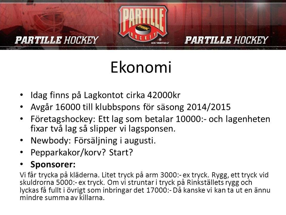 Ekonomi Idag finns på Lagkontot cirka 42000kr Avgår 16000 till klubbspons för säsong 2014/2015 Företagshockey: Ett lag som betalar 10000:- och lagenhe