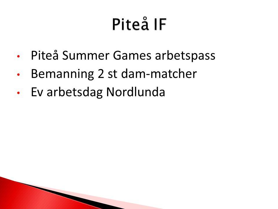 Piteå Summer Games arbetspass Bemanning 2 st dam-matcher Ev arbetsdag Nordlunda