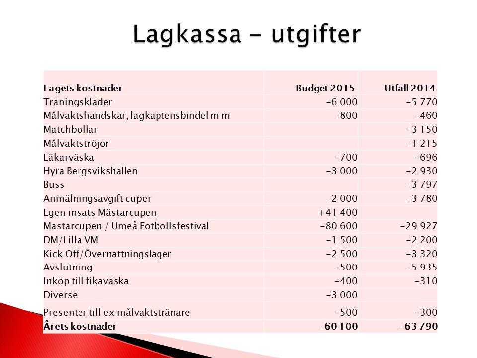 Lagets kostnader Budget 2015 Utfall 2014 Träningskläder-6 000-5 770 Målvaktshandskar, lagkaptensbindel m m-800-460 Matchbollar-3 150 Målvaktströjor-1 215 Läkarväska-700-696 Hyra Bergsvikshallen-3 000-2 930 Buss-3 797 Anmälningsavgift cuper-2 000-3 780 Egen insats Mästarcupen+41 400 Mästarcupen / Umeå Fotbollsfestival-80 600-29 927 DM/Lilla VM-1 500-2 200 Kick Off/Övernattningsläger-2 500-3 320 Avslutning-500-5 935 Inköp till fikaväska-400-310 Diverse-3 000 Presenter till ex målvaktstränare-500-300 Årets kostnader-60 100-63 790