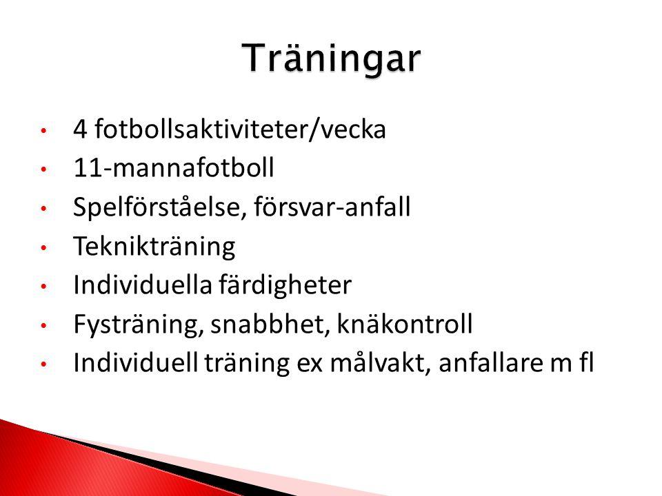 4 fotbollsaktiviteter/vecka 11-mannafotboll Spelförståelse, försvar-anfall Teknikträning Individuella färdigheter Fysträning, snabbhet, knäkontroll Individuell träning ex målvakt, anfallare m fl