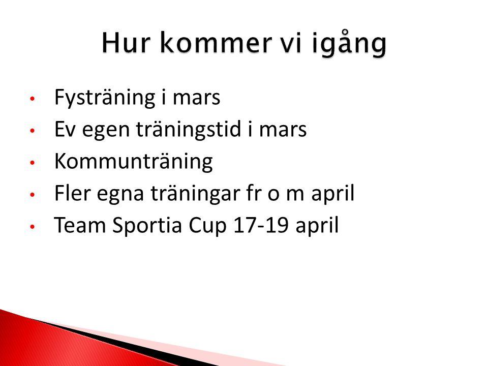 Fysträning i mars Ev egen träningstid i mars Kommunträning Fler egna träningar fr o m april Team Sportia Cup 17-19 april