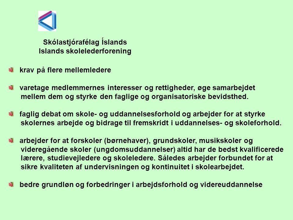 Skólastjórafélag Íslands Islands skolelederforening krav på flere mellemledere varetage medlemmernes interesser og rettigheder, øge samarbejdet mellem dem og styrke den faglige og organisatoriske bevidsthed.