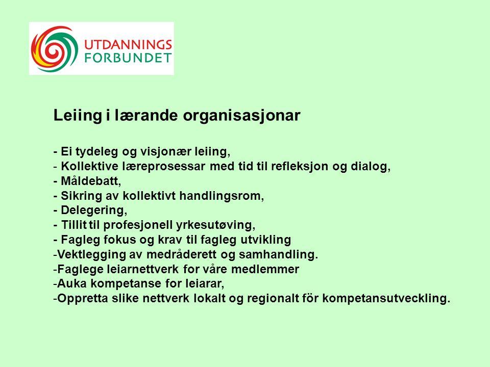 Leiing i lærande organisasjonar - Ei tydeleg og visjonær leiing, - Kollektive læreprosessar med tid til refleksjon og dialog, - Måldebatt, - Sikring av kollektivt handlingsrom, - Delegering, - Tillit til profesjonell yrkesutøving, - Fagleg fokus og krav til fagleg utvikling -Vektlegging av medråderett og samhandling.