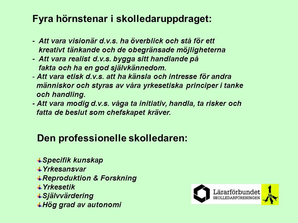 Den professionelle skolledaren: Specifik kunskap Yrkesansvar Reproduktion & Forskning Yrkesetik Självvärdering Hög grad av autonomi Fyra hörnstenar i skolledaruppdraget: - Att vara visionär d.v.s.
