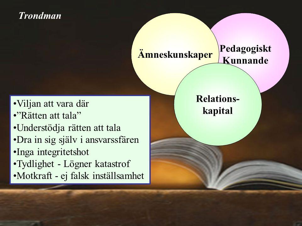 """Pedagogiskt Kunnande Ämneskunskaper Relations- kapital Viljan att vara där """"Rätten att tala"""" Understödja rätten att tala Dra in sig själv i ansvarssfä"""