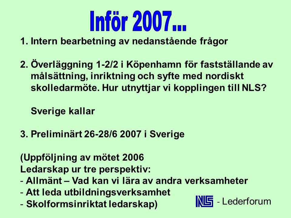 1. Intern bearbetning av nedanstående frågor 2. Överläggning 1-2/2 i Köpenhamn för fastställande av målsättning, inriktning och syfte med nordiskt sko