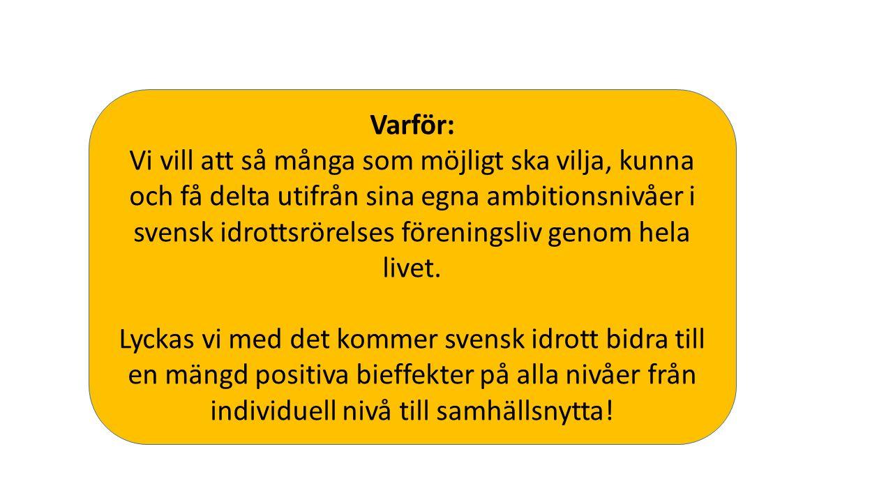 Varför: Vi vill att så många som möjligt ska vilja, kunna och få delta utifrån sina egna ambitionsnivåer i svensk idrottsrörelses föreningsliv genom hela livet.