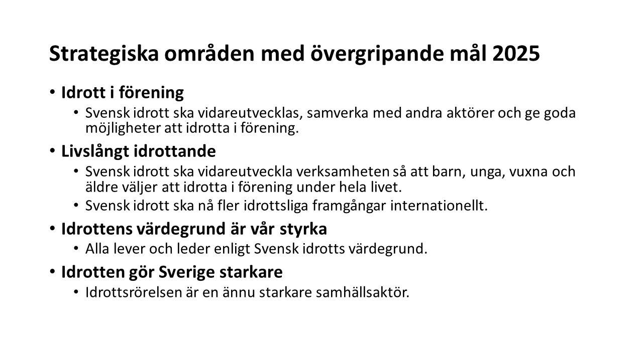 Strategiska områden med övergripande mål 2025 Idrott i förening Svensk idrott ska vidareutvecklas, samverka med andra aktörer och ge goda möjligheter att idrotta i förening.