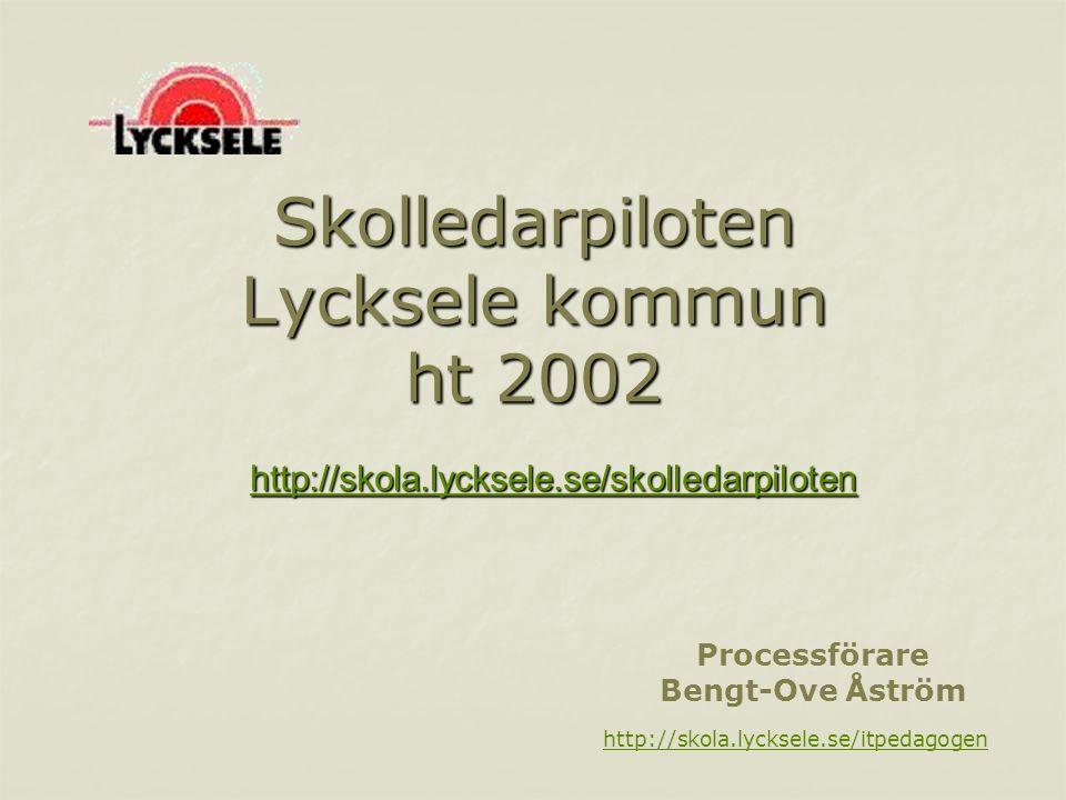 Skolledarpiloten Lycksele kommun ht 2002 http://skola.lycksele.se/itpedagogen Processförare Bengt-Ove Åström http://skola.lycksele.se/skolledarpiloten