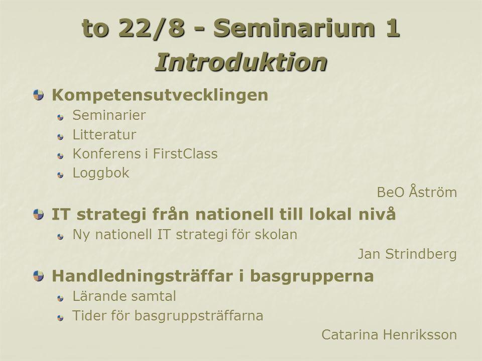 to 22/8 - Seminarium 1 Introduktion Kompetensutvecklingen Seminarier Litteratur Konferens i FirstClass Loggbok BeO Åström IT strategi från nationell t