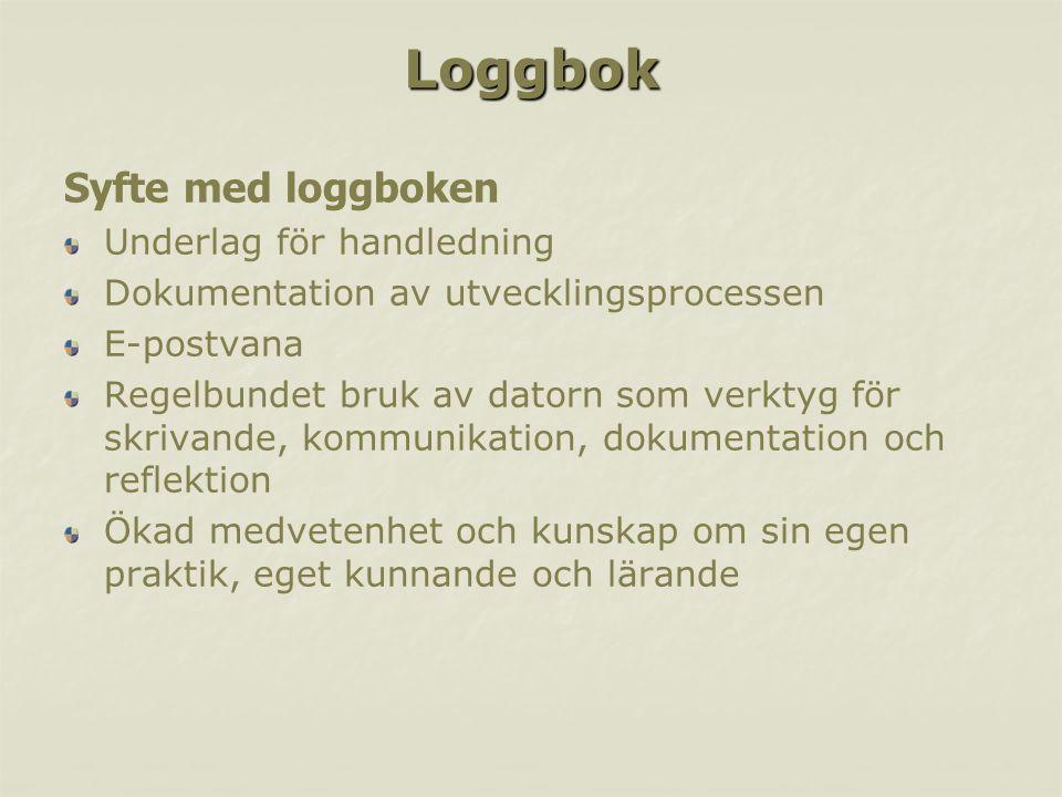 Loggbok Syfte med loggboken Underlag för handledning Dokumentation av utvecklingsprocessen E-postvana Regelbundet bruk av datorn som verktyg för skriv