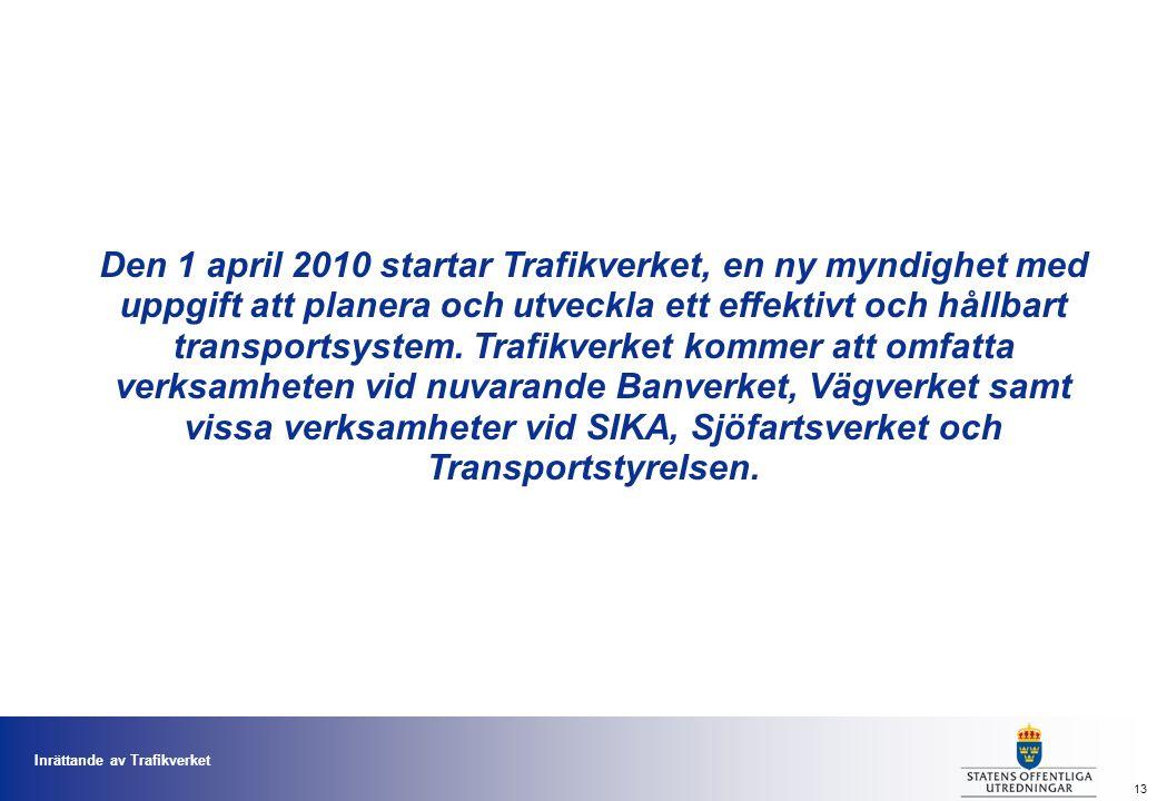 Inrättande av Trafikverket 13 Den 1 april 2010 startar Trafikverket, en ny myndighet med uppgift att planera och utveckla ett effektivt och hållbart transportsystem.