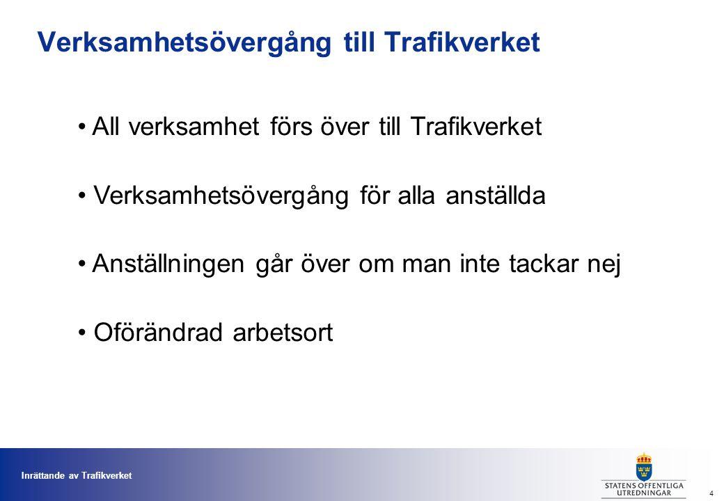 Inrättande av Trafikverket 4 Verksamhetsövergång till Trafikverket All verksamhet förs över till Trafikverket Verksamhetsövergång för alla anställda Anställningen går över om man inte tackar nej Oförändrad arbetsort