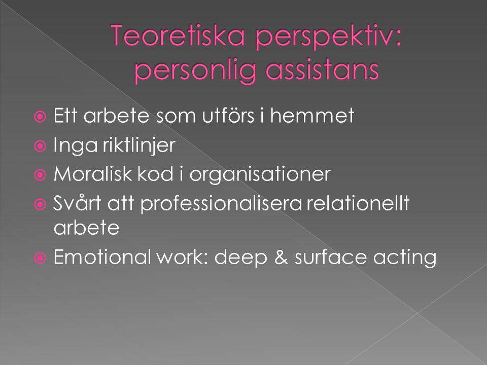  Ett arbete som utförs i hemmet  Inga riktlinjer  Moralisk kod i organisationer  Svårt att professionalisera relationellt arbete  Emotional work: deep & surface acting