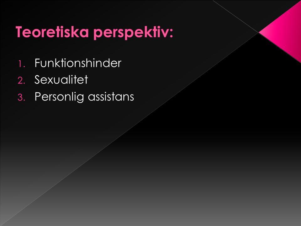 1. Funktionshinder 2. Sexualitet 3. Personlig assistans