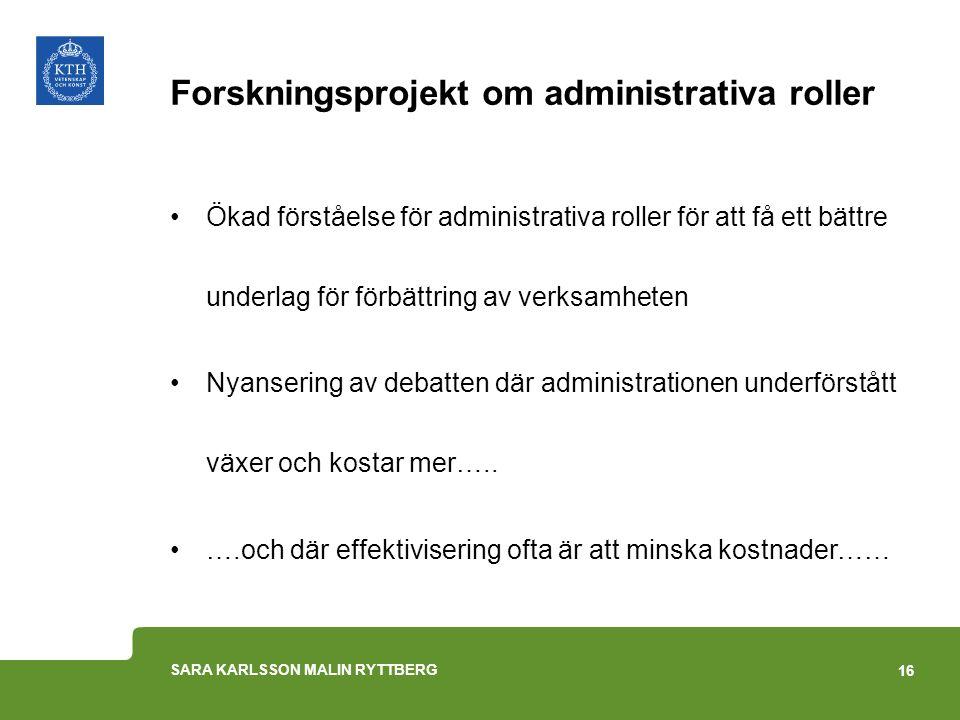 Forskningsprojekt om administrativa roller Ökad förståelse för administrativa roller för att få ett bättre underlag för förbättring av verksamheten Ny