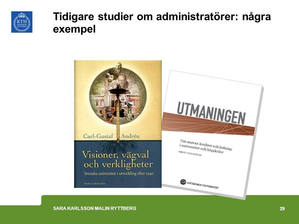 Tidigare studier om administratörer: några exempel 29 SARA KARLSSON MALIN RYTTBERG
