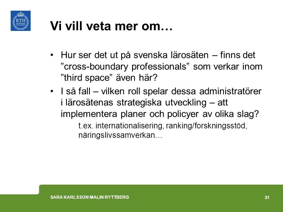 """Vi vill veta mer om… Hur ser det ut på svenska lärosäten – finns det """"cross-boundary professionals"""" som verkar inom """"third space"""" även här? I så fall"""