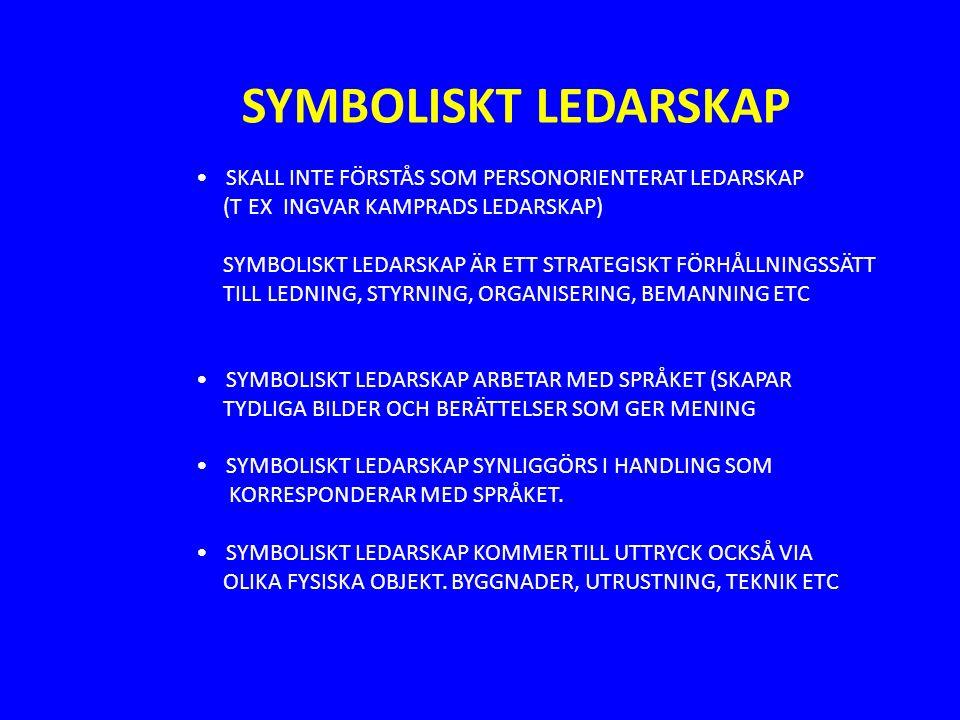 SYMBOLISKT LEDARSKAP SKALL INTE FÖRSTÅS SOM PERSONORIENTERAT LEDARSKAP (T EX INGVAR KAMPRADS LEDARSKAP) SYMBOLISKT LEDARSKAP ÄR ETT STRATEGISKT FÖRHÅLLNINGSSÄTT TILL LEDNING, STYRNING, ORGANISERING, BEMANNING ETC SYMBOLISKT LEDARSKAP ARBETAR MED SPRÅKET (SKAPAR TYDLIGA BILDER OCH BERÄTTELSER SOM GER MENING SYMBOLISKT LEDARSKAP SYNLIGGÖRS I HANDLING SOM KORRESPONDERAR MED SPRÅKET.