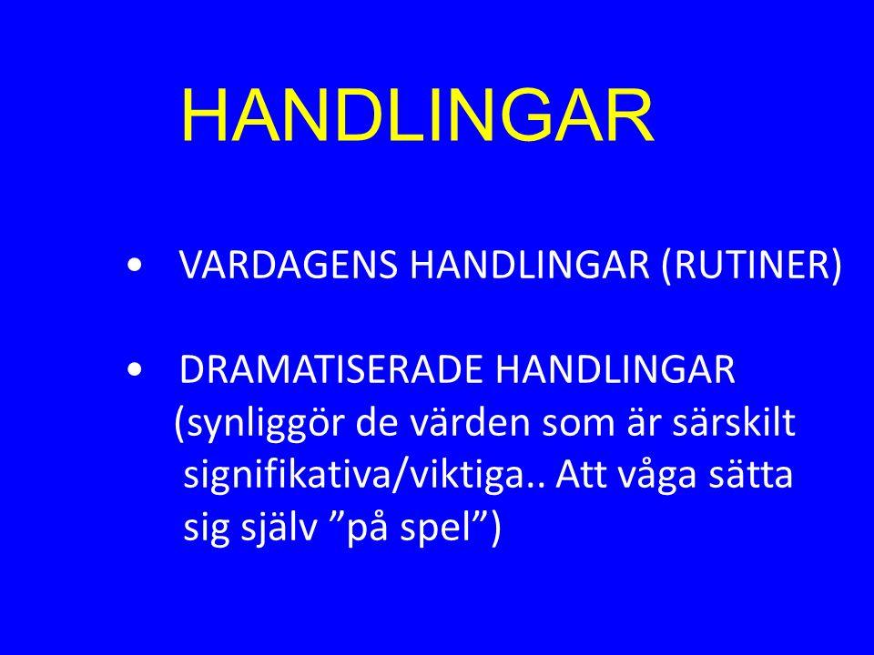 HANDLINGAR VARDAGENS HANDLINGAR (RUTINER) DRAMATISERADE HANDLINGAR (synliggör de värden som är särskilt signifikativa/viktiga.. Att våga sätta sig sjä