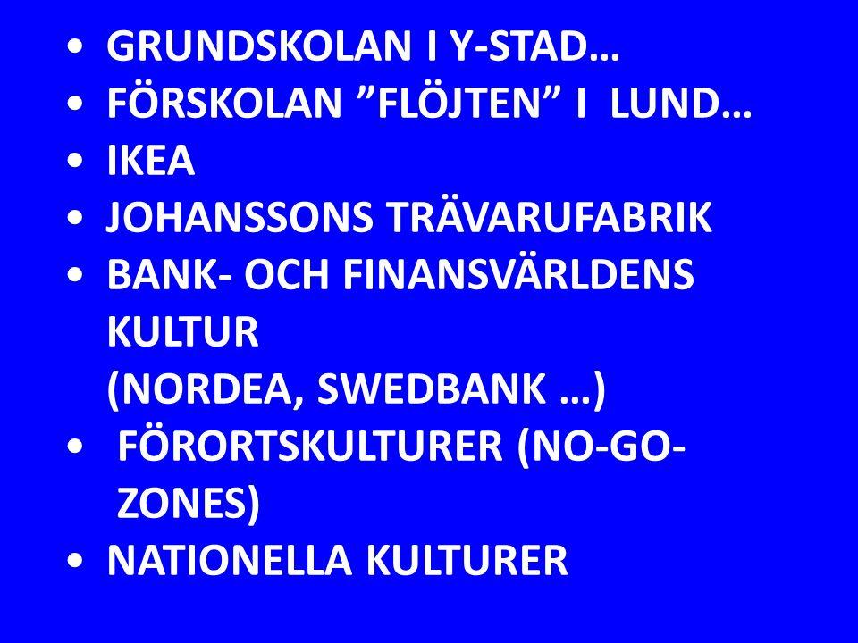 """GRUNDSKOLAN I Y-STAD… FÖRSKOLAN """"FLÖJTEN"""" I LUND… IKEA JOHANSSONS TRÄVARUFABRIK BANK- OCH FINANSVÄRLDENS KULTUR (NORDEA, SWEDBANK …) FÖRORTSKULTURER ("""