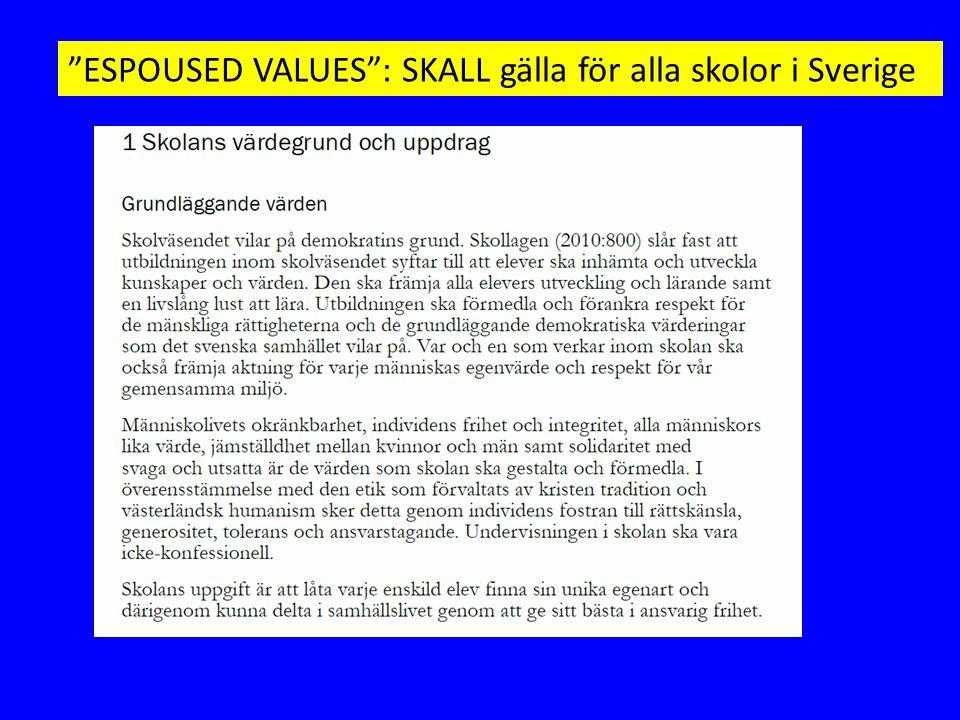 ESPOUSED VALUES : SKALL gälla för alla skolor i Sverige