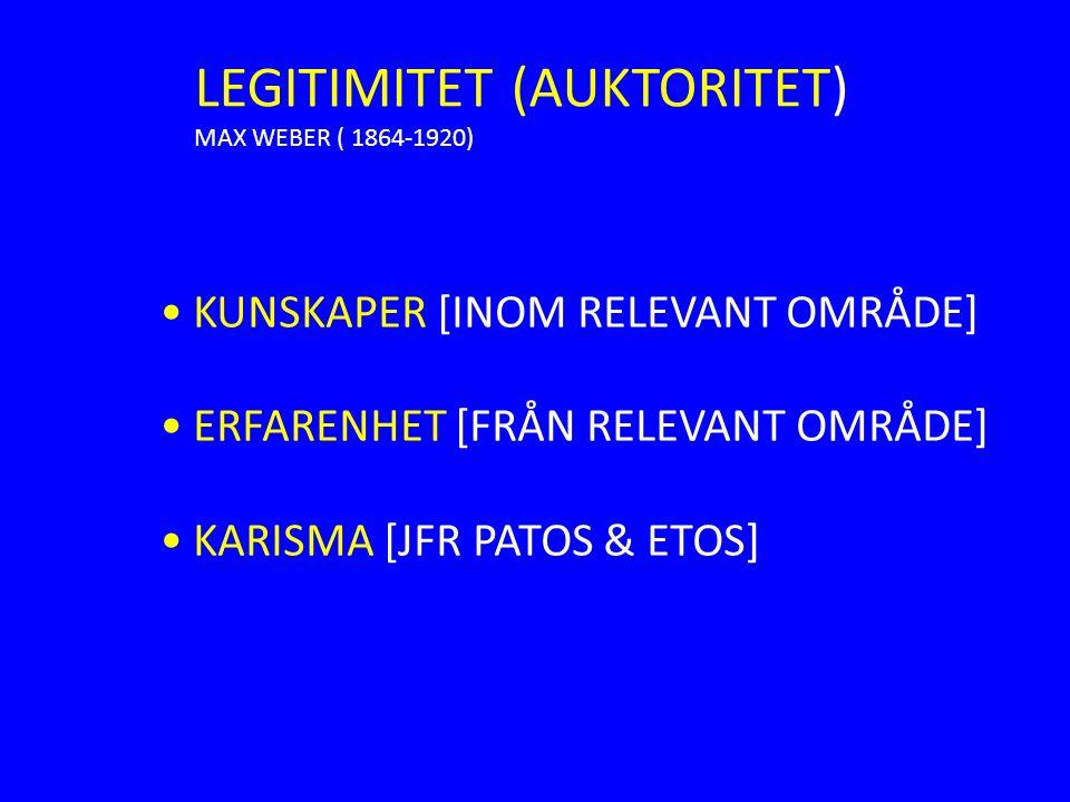 LEGITIMITET (AUKTORITET) MAX WEBER ( 1864-1920) KUNSKAPER [INOM RELEVANT OMRÅDE] ERFARENHET [FRÅN RELEVANT OMRÅDE] KARISMA [JFR PATOS & ETOS]