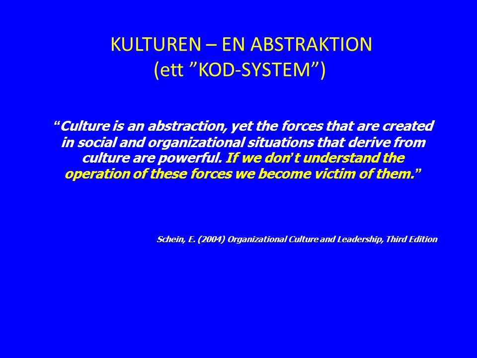 Culture is an abstraction, yet the forces that are created in social and organizational situations that derive from culture are powerful.