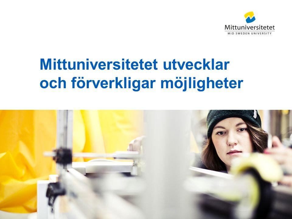 Mittuniversitetet Forskningens utveckling 2005–2014 Statligt forskningsanslag (mkr) Externa forskningsmedel (mkr) Professorer (antal) Forskarstuderande (antal)